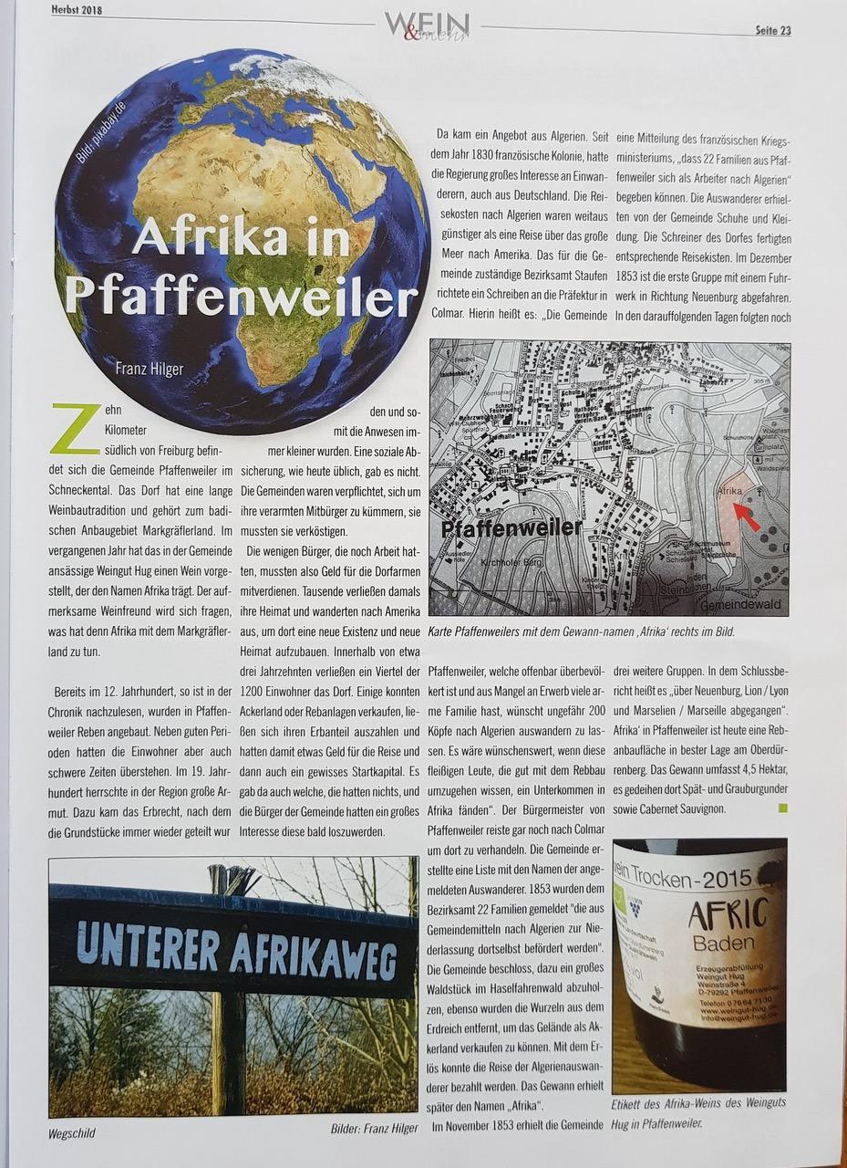 Afrika in Pfaffenweiler   Weingut Hug in Pfaffenweiler bei Freiburg im Breisgau